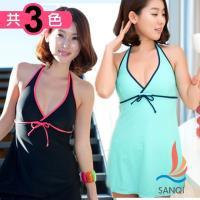 SANQI三奇 完美渡假 連身式泳裝 泳衣(共三色M~XL) SQ13110
