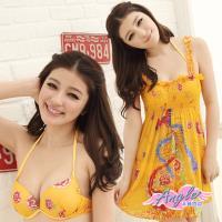 天使霓裳 中國鳳凰花漾 三件式鋼圈比基尼泳裝(黃M.L) YP11021