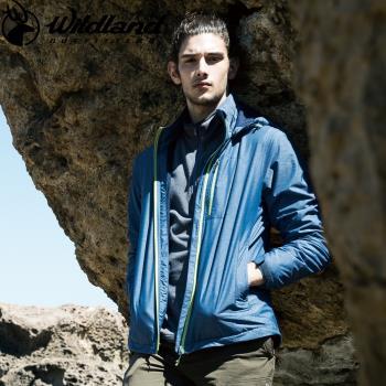 【Wildland 荒野】男輕量網布刷毛裡防風外套共2色