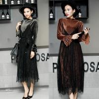 歐風KEITH-WILL 秋冬完美輕奢華二件式二穿蕾絲絲絨洋裝