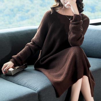 糖潮-純色粗針織小開衩連衣裙-M~3XL(共四色)