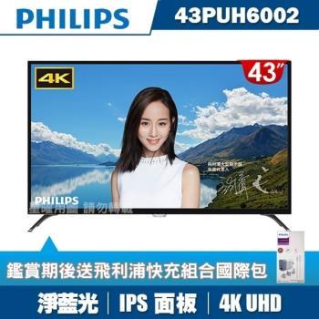 [送2好禮]PHILIPS飛利浦 43吋4K UHD連網液晶顯示器+視訊盒43PUH6002