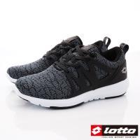 LOTTO樂得-潮流編織慢跑鞋-MR6930黑(女段)