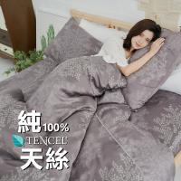 BUHO 100%TENCEL純天絲單人床包+雙人舖棉兩用被組(森沐影畔)