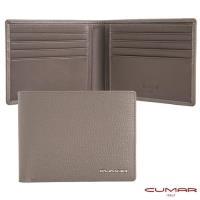 【CUMAR】義大利牛皮 - 12卡短夾 - 雙層式鈔票夾層-灰岩系列