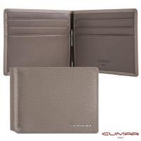【CUMAR】CUMAR 義大利牛皮-時尚短夾-鈔票夾設計-灰岩系列