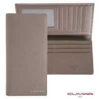 【CUMAR】義大利牛皮-時尚長夾-附拉鍊內袋-灰岩系列(透明證件/相片窗設計)