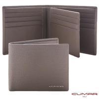 【CUMAR】義大利牛皮-時尚短夾-三層左右翻-附證件相片窗設計-灰岩系列