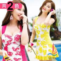 SANQI三奇 花漾俏皮 一件式連身泳衣(共兩色L,XL) SQ88101