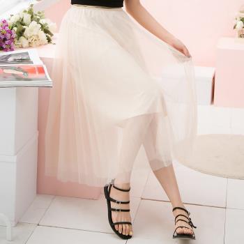 素色雙層網紗裙七分裙(共二色)lingling