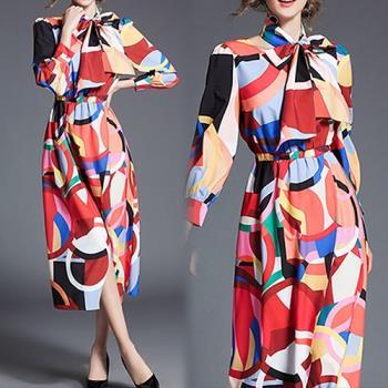 歐風KEITH-WILL 秋冬歐美時尚繽紛幾何拼接洋裝