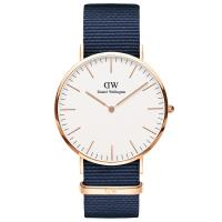 DW Daniel Wellington 貝斯沃特午夜藍NATO錶帶石英腕錶~金框 40m