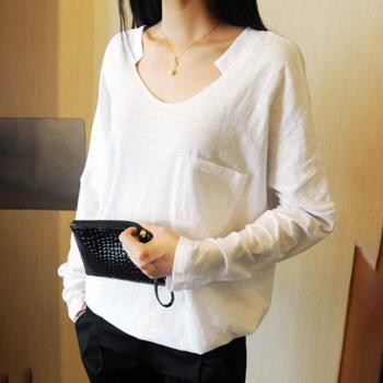 BubbleCoCo 大V領寬鬆竹節棉白色長袖T恤(S-2XL)