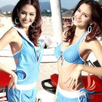 SANQI三奇 繽紛星彩 四件式鋼圈比基尼泳衣(藍M~XL) SQ13005