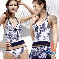 SANQI三奇 甜心元素 四件式花紋泳裝(藍M,L) SQ13076