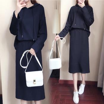 KVOLL-純色休閒連帽上衣+中長裙套裝XL~5XL(共二色)
