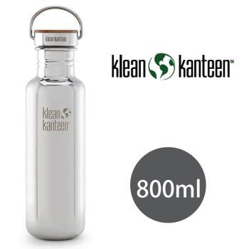 美國Klean Kanteen 不鏽鋼瓶800ml_鏡面鋼(竹片鋼蓋)