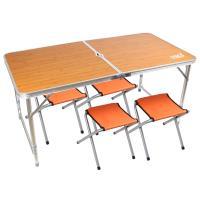 TREE WALKER 露遊聚便攜式鋁合金桌椅組-淺竹紋