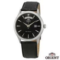 ORIENT東方錶  簡略沉黑自動上鍊機械腕錶-黑面銀框x41mm FEV0V003BH