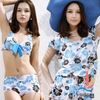 SANQI三奇 水漾夏日的鮮花 三件式鋼圈比基尼泳衣(淺藍M,L) SQ13071