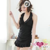 天使霓裳 時尚黑潮 一件式加大尺碼連身泳衣(黑L~3L) ST3303