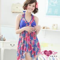 天使霓裳 盛夏太陽 兩件式加大尺碼泳衣(藍彩L~4L) ST3308