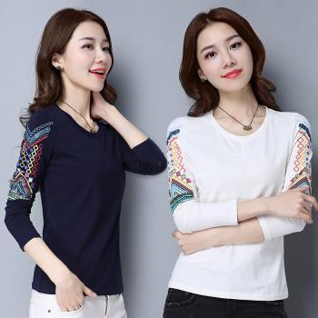 ALLK  民族風刺繡上衣 共2色(尺寸M-XXL)