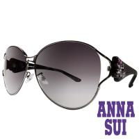 Anna Sui 日本安娜蘇 復古時尚經典蝴蝶水鑽鑲嵌金屬精雕造型太陽眼鏡 (黑色) AS874-900
