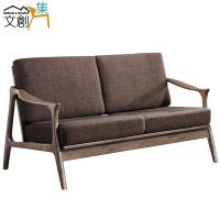 文創集-露西 時尚亞麻布實木二人座沙發椅-二色可選+二人座