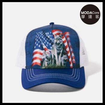 摩達客(預購)美國進口The Mountain野狼與旗  藝術棒球帽網帽/5-Panel新五分割帽