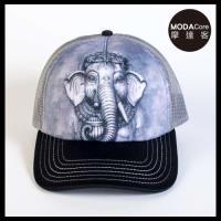 摩達客(預購)美國進口The Mountain 象頭神臉 藝術棒球帽網帽/5-Panel新五分割帽