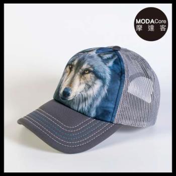 摩達客(預購)美國進口The Mountain 勇戰之狼  藝術棒球帽網帽/5-Panel新五分割帽