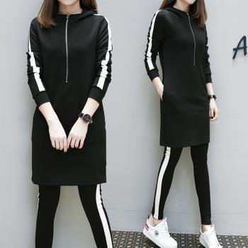 KVOLL-休閒運動風短洋裝內搭長褲套裝XL~4XL