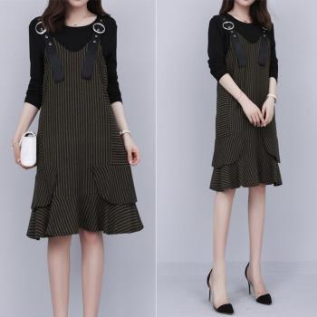 KVOLL-時尚休閒吊帶裙氣質兩件式套裝XL~4XL