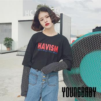 【YOUNGBABY中大碼】紅字HAVISM拼接條紋袖假兩件式T.黑