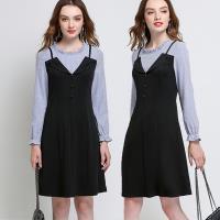 麗質達人 - 6217藍色條紋拼接洋裝