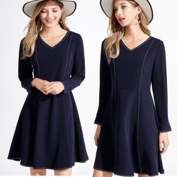 麗質達人 - 5275藍色V領洋裝