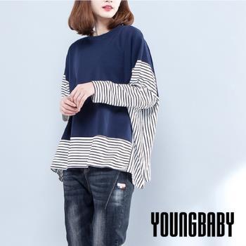 YOUNGBABY中大碼-拼接條紋袖下擺藍色背心假兩件式上衣