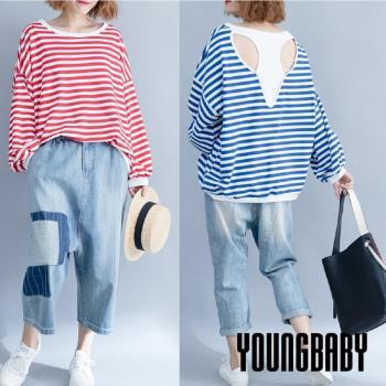 YOUNGBABY中大碼-圓領條紋後配挖背假兩件式寬鬆上衣.共2色