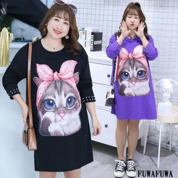 FUWAFUWA- 加大尺碼貓咪長版T恤長袖洋裝