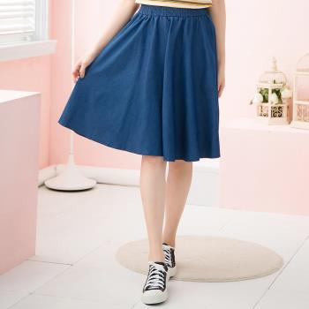 波浪A字圓裙腰鬆緊牛仔及膝裙(牛仔藍)lingling中大尺碼