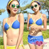 天使霓裳 陽光氛圍 三件式鋼圈比基尼泳衣(藍M~XL) SA14009