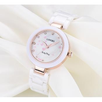 【17mall】LONGBO朗博愛心點點陶瓷錶