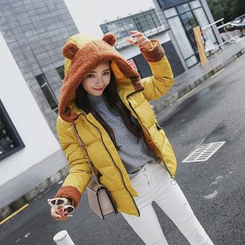 WHATDAY-韓版可愛羔羊絨兔耳朵連帽羽絨棉外套M-2XL(共四色