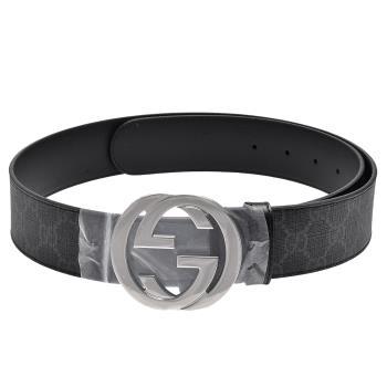 GUCCI 經典雙G金屬銀釦防水帆布皮革腰帶/皮帶(深灰)