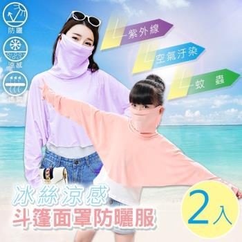 【Effect】冰絲涼感斗篷面罩防曬服(成人款/兒童款/2件組)