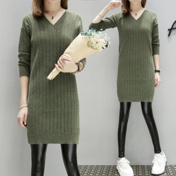 KVOLL-簡約V領針織開衩上衣短洋裝XL~4XL(共二色)