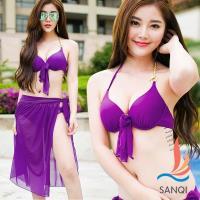 SANQI三奇 俏麗艷夏 三件式鋼圈泳衣(紫M~XL) SQ88117