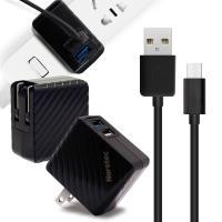 Noratec 商檢認證 QC3.0/3A/18W閃充雙輸出 + MICRO USB 線組-黑色組