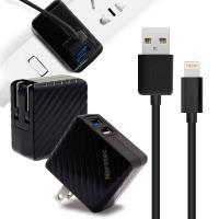 Noratec 商檢認證 QC3.0/3A/18W 閃充 雙USB輸出 + iPhone 8pin線-黑色組